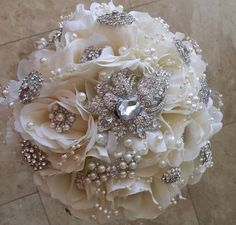Classic all white and bling bouquet