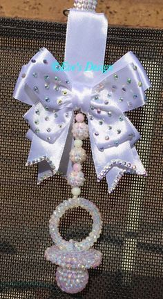 Crafts To Make, Arts And Crafts, Diy Crafts, Biscuit, Bling Pacifier, Pram Charms, Dummy Clips, Baby Jewelry, Baby Style