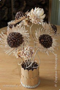 Флористика искусственная Моделирование конструирование Кофейно-фисташковые цветы Кофе Скорлупа ореха Шпагат фото 1