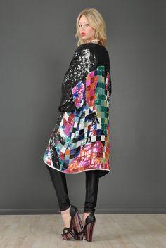 Rainbow Checkerboard Silk Draped Sequin Jacket | BUSTOWN MODERN