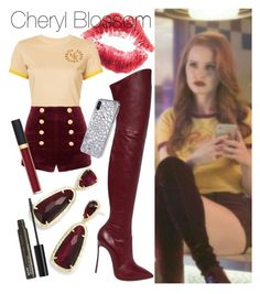 """""""Cheryl Blossom inspired outfit """" by milkyxway ❤ liked on Polyvore featuring Puma, Pierre Balmain, Casadei, Chanel, Kendra Scott and NYX"""