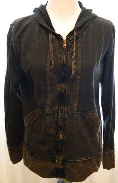 Women's Vintage Basics Jacket 100% Cotton Made in USA Zip Front Dark Brown Sz L #VintageBasics #BasicJacket