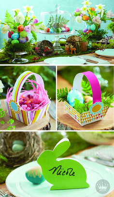 Set the perfect Easter table with these fun DIY decoration ideas from Hallmark! Festive details like these bunny shaped place cards and individual-sized treat baskets make for one egg-cellent Easter gathering!