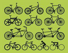 12 siluetas de bicicletas vectoriales para descargar