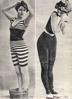 Bath Suits - 1898-99... If they were alive now, they'd die of a heart attack from what bathing suits have become! Lol