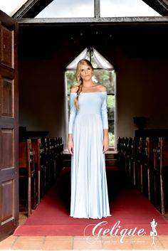 Isabel design Gelique bridesmaids dress. Drop sleeve bridesmaid dress. Available in a variety of sizes and colours from Brides of Somerset. Long, knee-length or short available.