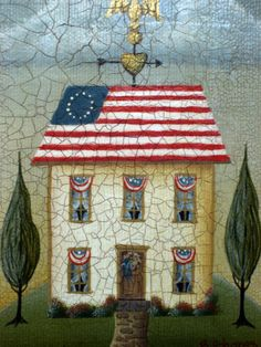 GOD BLESS AMERICA - patriotic folk art 5x7 giclee print via Etsy.