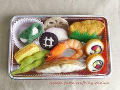 Japanese Bento box lunch handmade needle felted wool food OOAK
