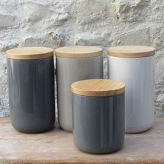Ceramic Storage Jar With Wooden Lid £10.95