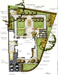 Private gardendesign of a project in Heemstede in the Netherlands.   Hand rendered design.
