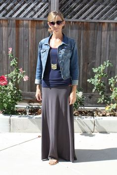 :: i like the maxi skirt and the gray + navy + denim combo. o, and the necklace!