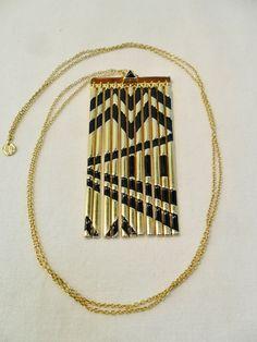 Vintage STUNNING Pendant Necklace Black Enamel Gold by KathiJanes