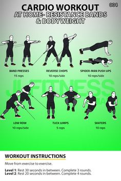Six exercises using your bodyweight and resistance bands. 3 to 4 rounds. Workout should take you about 30 minutes to complete. Insanity Workout, Best Cardio Workout, Workout Fitness, Cardio At Home, At Home Workouts, Band Workouts, Lifting Workouts, Workout Pics, Workout Ideas