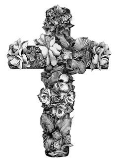 Cross made out of flowers. Can you imagine this as a tattoo!