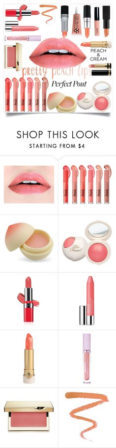 """she's a peach"" by bbywolfy on Polyvore featuring beauty, TONYMOLY, Avon, Clinique, Lime Crime, Clarins, Ellis Faas, Gucci and peachlipstick"