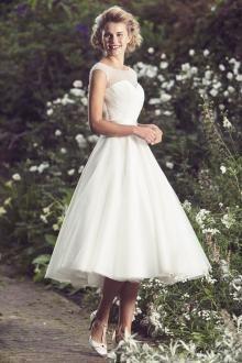 cap sleeves illusion neck ivory organza elegant tea length wedding dress  Organza Menyasszonyi Ruhák 1c526a1339