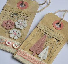 Stitched felt Christmas tags