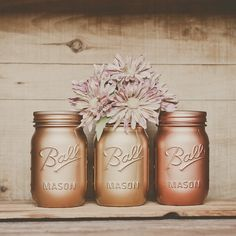 3+Painted+mason+jars.+Vases.+Centerpiece.+by+StyleJarsandCans,+$26.00