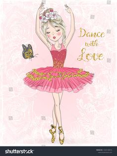 Hand drawn beautiful, lovely, cute ballerina girl with freckles and flowers on her head. Ballerina Art, Little Ballerina, Ballerina Illustration, Valentines Gif, Ballet Drawings, Baby Artwork, Cactus Drawing, Fancy Fonts, Chibi Girl