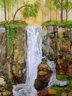 Waterfall in the Woods alcohol ink painting by Linda Crocco Studio