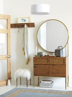 The iconic dressing table gets turned on its head in this stunning design by Mermelada Estudio. deal for the entry, cabinet fronts 2 drawers, 2 doors and an oversized mirror ringed in shine. Vintage and modern, this cabinet takes any space to the next leve