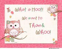 Cute Hoot Pink Thank You Card