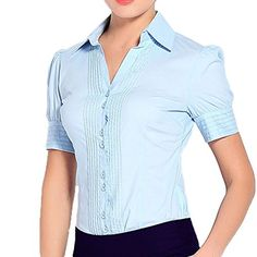 Soojun Women Short Sleeve Button Down Career Shirt Bodysuit Blouse Medium Blue. Button up closure, Point Collar, Single Breasted, Casual Shirt. Short sleeved, bodysuit styles, snap-close panty. Hand wash cold or dry clean. Lightweight and breathable fabrication for comfort. This is US size, If you want to loose and you can get a bigger size than you normally wear.