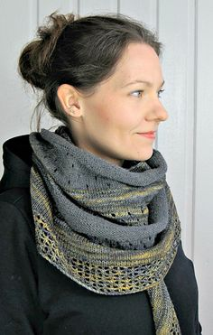 Soulmate Crescent Shawl made with Drops Baby Merino dark grey