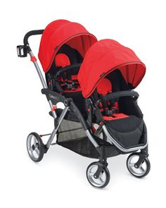 """Contours Options LT - a double stroller with """"stadium""""-style seating for two kids."""