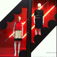 Strong graphics & exploded scalloped edge detail in the Victoria Beckham window displays for Harvey Nicholls