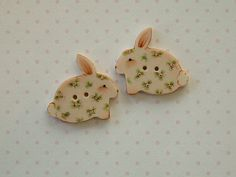 Pink Bunny Buttons set of 2 by goldsealproducts on Etsy