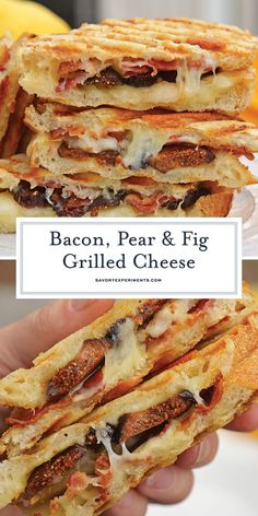This Bacon, Pear and Fig Grilled Cheese combines sweet, savory and gooey. The ultimate delicious grilled cheese sandwich recipe. Grill Sandwich, Deli Sandwiches, Roast Beef Sandwich, Grill Cheese Sandwich Recipes, Grilled Sandwich Recipe, Grilled Cheese Recipes, Grilled Cheeses, Burger Recipes, Grilled Cheese Food Truck