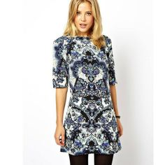 Vintage Style Flowers Pattern O-Neck A Line Dresses For Women