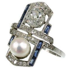Art Deco pearl diamond engagement ring sapphire circa 1925