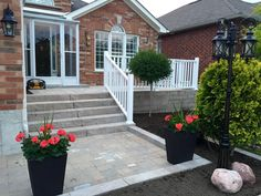 Front walkway and entrance   Retaining wall, garden , stairs and landing
