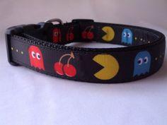 Medium Black Pac Man Dog Collar  Adjustable by DaisyDoAndDexterToo, $14.00