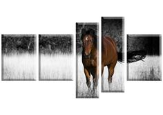 Tablou Horse 1492 Dimensiune: 3x 30x40 cm + 2x 20x65 cm Total: 130x70 cm Bookends, Moose Art, Horses, Canvas, Modern, Animals, Home Decor, Animales, Decoration Home