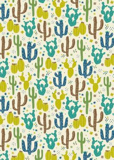 Prickly Cactus (Greens) Art Print