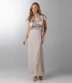 $180 KM Collections Satin & Chiffon Bolero Jacket Dress | Dillards.com