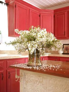 Coral Kitchen:  Gorgeous kitchen for a cozy beach cottage.  Mega color commitment though.