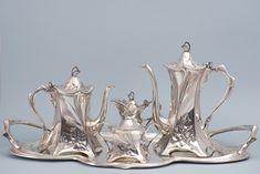 Art Nouveau Interior, Art Nouveau Architecture, Art Nouveau Design, Art And Architecture, Jugendstil Design, Silver Tea Set, Coffee Set, Art Deco Fashion, Ceramic Art