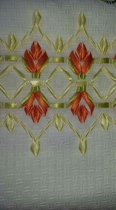 How To Make Ribbon Embroidery Flowers Step By Step; Embroidery Designs Hand Work between Ribbon Embroidery Instructions Free unlike Embroidery Floss Philippines Embroidery Designs, Ribbon Embroidery Tutorial, Embroidery Leaf, Learn Embroidery, Embroidery Needles, Silk Ribbon Embroidery, Vintage Embroidery, Cross Stitch Embroidery, Embroidery Patterns
