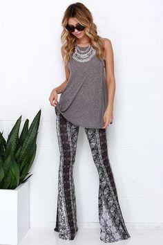 Foxglove Fairy Black and Ivory Print Flare Pants at Lulus.com!