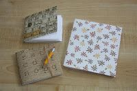 Simple homemade/upcycled notebooks.