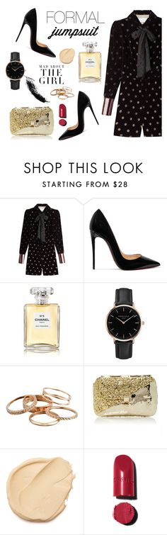 """""""Sin título #659"""" by mariananava ❤ liked on Polyvore featuring Maison Margiela, Christian Louboutin, Chanel, Topshop, Kershaw, Kendra Scott, Anndra Neen and formaljumpsuit"""