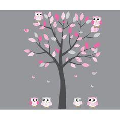 Pink Owl Wall Decal Baby Nursery or Girls Room Gray Pink Vinyl Tree Decal
