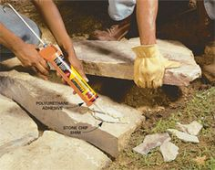 Use polyurethane adhesive instead Mortar is traditionally used to secure the top courses of stone on a wall. But polyurethane adhesive does the same thing without the hard work and mess of mixing mortar or the skill needed