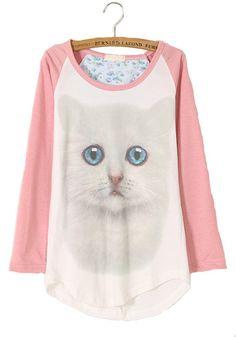 Pink Cat Print Asymmetric Wrap Cotton Blend T-Shirt