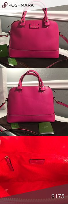 Hot Pink Kate Spade 'Wellesley' Bag, BEAUTIFUL! Fabulous Hot Pink Kate Spade Handbag perfect for the summer. This is a gorgeous bag!! Comes with original tags and dust cover. Discoloration on the inside of one handle - see final picture. Immaculate everywhere else. Comes from a smoke and pet free home. Kate Spade Bags