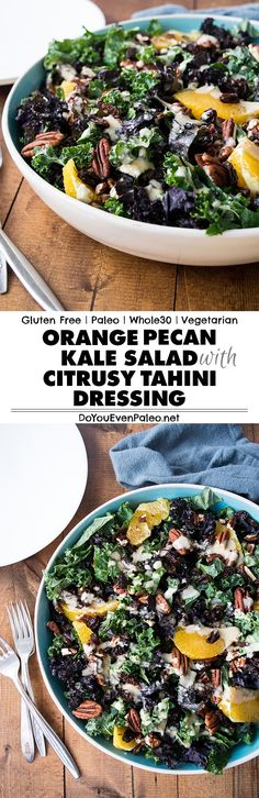 Never eat a boring salad again—check out the recipe for this paleo & Whole30-friendly Orange Pecan Kale Salad and see what I mean! | DoYouEvenPaleo.net